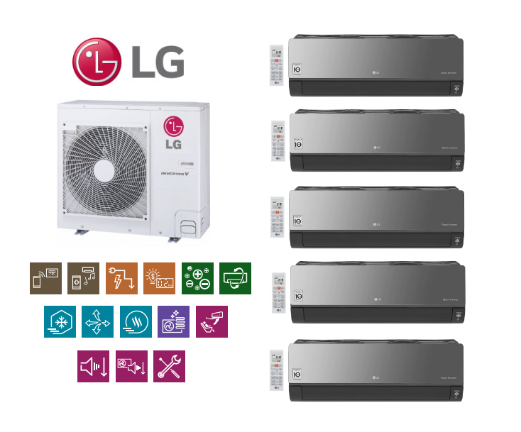 Multi-systems LG ART MIRROR 2x2,1kW + 2x2,5kW + 3,5kW