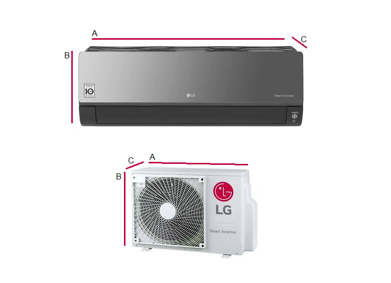 Multi-systems LG ART MIRROR 2x 2,5kW Outdoor unit. 4,7kW