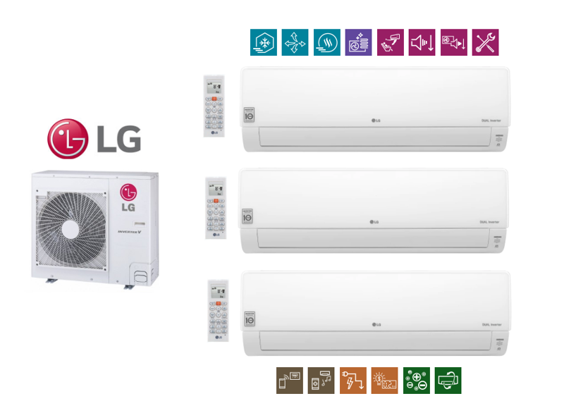 Multi-Systeme  LG DELUXE 2,1kW + 2x 6,6kW